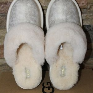 0561333c91c UGG COZY II LEATHER SHEARLING METALLIC SLIPPERS Boutique